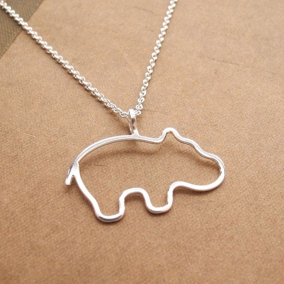 Little Hippo Necklace, Baby Hippo Necklace, Argentium Sterling Silver, Sterling Silver Chain, Made To Order