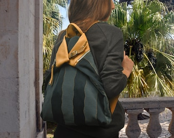 Handmade backpack in patterned fabric with leather details,named MYKONOS made to order