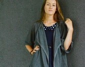 Light Gray Loose Jacket Linen Sweater Knitted Top Light Cardigan Linen KImono Style Sleeves Draped Front