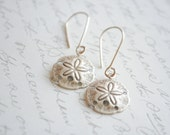 Sterling Silver Sand Dollar Earrings- Sand Dollar charm earrings, Beach Earrings, Nautical Earrings