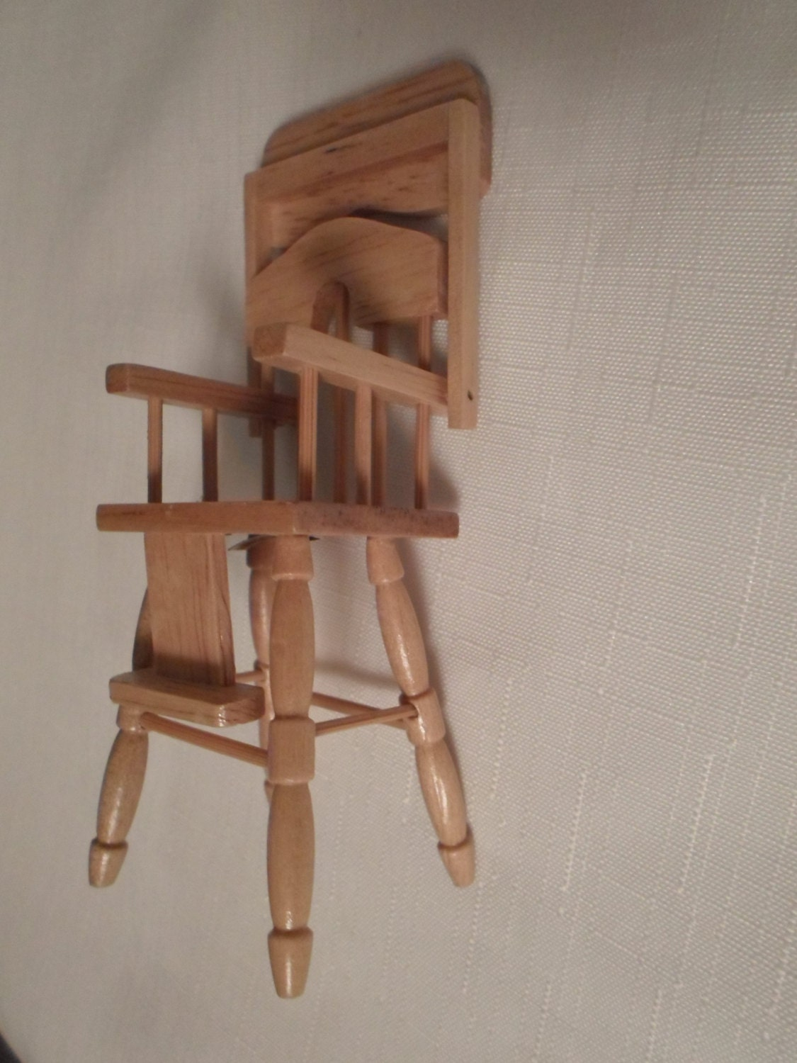 Vintage dollhouse highchair baby chair seat furniture wood doll barbie Wooden baby doll furniture