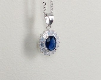 sapphire necklace, Gift for her, blue necklace, teens gift,  Moms gift, Christmas gift, silver chain, cubic zirconia