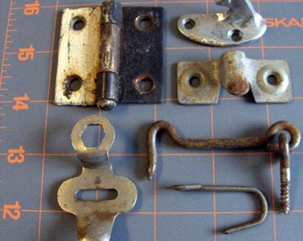 Vintage Industrial Metal Latches/ Hinges - Salvaged Hardware - Lot of 6 Pieces - Reclaimed Hardware Latches - Steampunk