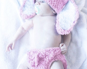 SUMMER SALE 3 to 6m Baby Bunny Hat and Diaper Cover Set Baby Hat Pom Pom Crochet Diaper Cover Bunny Ear Baby Pink White Photograpy Prop  Cij