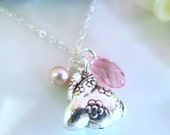 Puffy rabbit zodiac charm cherry blossom Swarovski crystal necklace
