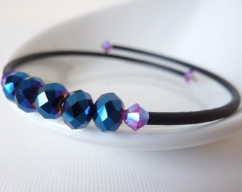 Blue Black and Pink Crystal Bead Bracelet, Memory Wire Bangle, Adjustable Stacking Bracelet, UK Seller