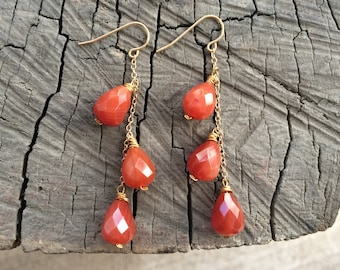 Carnelian Cascade Earrings