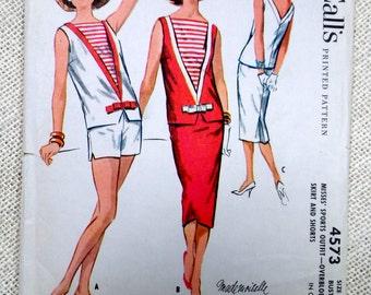 Vintage Pattern McCall's 4573 1950s Sailor scooter Sack two piece shift dress v back Mad Men Mod Bust 32 shorts Ann margret