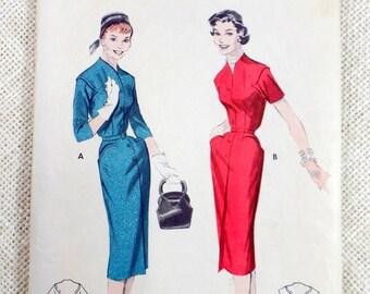 Vintage Pattern Butterick 7425 1950s Rockabilly bombshell dress wiggle dress pencil skirt seam detail