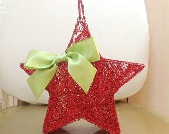 Ruby Red Star, Flower Girl Basket, Wedding Basket, Holiday Basket, Fairytale Wedding, Christmas Basket, Christmas Décor, Red Glitter, Basket