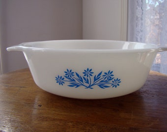 Vintage Anchor Hocking Fire King Milk Glass Casserole Dish with Blue Cornflower Pattern