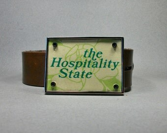 Belt Buckle License Plate Mississippi Magnolia The Hospitality State