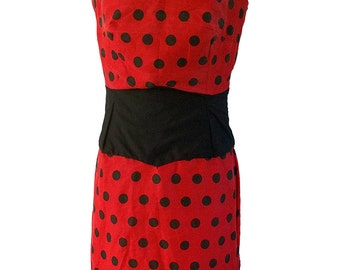 Red and black polka dot, corset style dress.  Size 12, rockabilly, vintage.