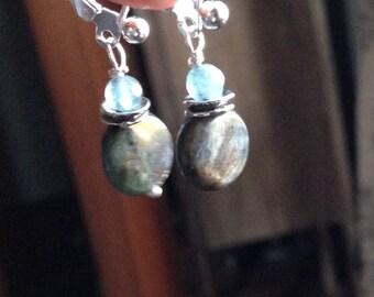 Kyanite Button and Aquamarine