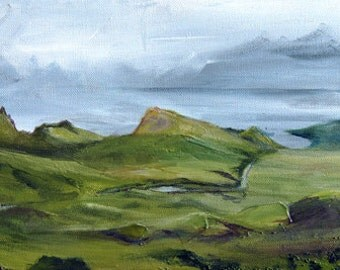 The Quiraing, Isle of Skye, A4 Fine Art Scottish Landscape Painting Print