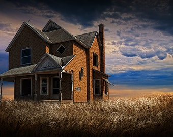 Abandoned and Forlorn Farm House at Sunset in West Michigan No,228 - A Fine Art Rural Country Landscape Photograph