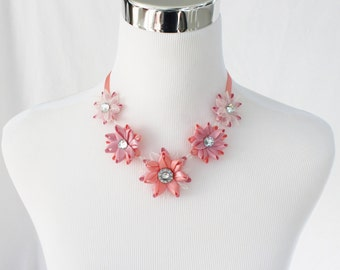 Ribbon Tie Necklace, Hypoallergenic Necklace, Metal Free Necklace, Adjustable Necklace, Nickel Free Jewelry, Petal Perceptions, Coral, Pink