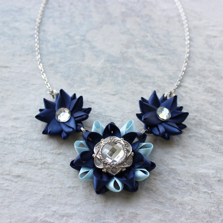 navy blue necklace light blue statement necklace navy