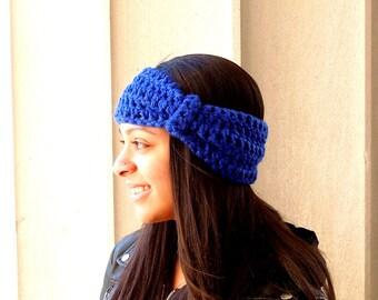 Crochet Turban Headband, Earwarmer, Women, Teen, royal Blue, Chunky, Ready To Ship,