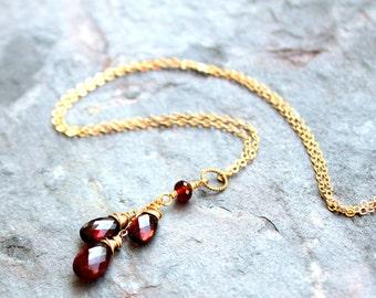 Gold Garnet Necklace Trio Teardrop 14k Gold Fill Red Gemstone Pendant Necklace