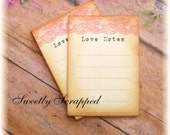 Love Notes Cards .... Pink Lace, Vintage, Typewriter Text, Hand Aged, Wedding, Romance, Journal Cards