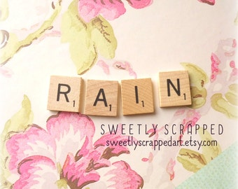 SALE... RAIN Scrabble Tiles .... Crafts, DIY, Supplies, Scrapbooking, Cardmaking, Embellishments, Pocket Letters
