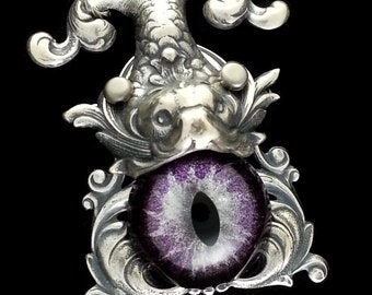 Gothic Koi Fish Necklace Sightmares Eye Purple and Silver Eye in Silver Plated Brass by Dr Brassy Steampunk