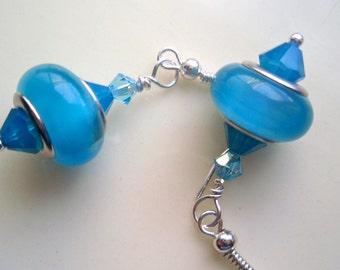 Blue Crystal Earrings, Capri Blue Swarovski Crystal Earrings, Moonstone Blue Earrings