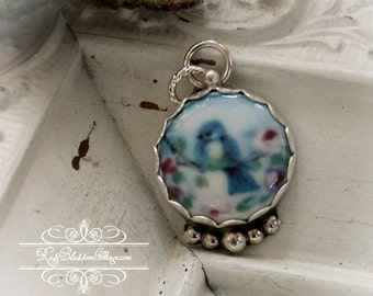 Blue Bird Roses Bluebird Sterling Silver Pendant Charm