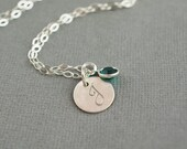 Birthstone Initial Hand Stamped Sterling Silver Jewelry Necklace