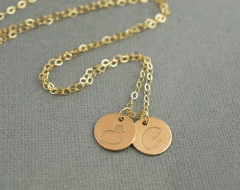 Gold Hand Stamped Initial Necklace   Gold Letter Necklace    Gold 14K Filled Hand Stamped Jewelry Necklace
