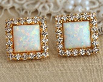 Opal Earrings stud earrings with white rhinestones bridesmaids jewelry wedding jewelry, White Opal earrings, Square White Opal Stud Earrings