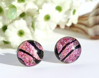 "Small Dichroic Glass Stud Earrings, Fused Glass Jewelry, Surgical Steel Posts - Spring, Petal Pink, Black > 3/8"" or 10mm (Item #30917-E)"