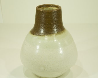 Ceramic Vase, Two Tone, Brown, White, Gloss Glaze, Handmade Pottery, Ornamental Vessel, Home Decor, Gift, MJS, 4
