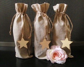 Set of 3 Rustic Linen Wine Bags with STAR Tags - Rustic Wine Bags, Wine Bottle Bag, Wine Bags, Shabby Chic Wedding, Rustic Wedding