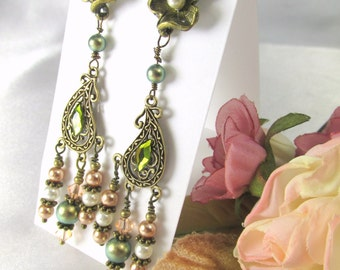 Antique Brass Post Chandelier Earrings with Swarovski Pearls and Crystals in Olive Green, Ivory Cream, Bronze Pearl and Light Peach