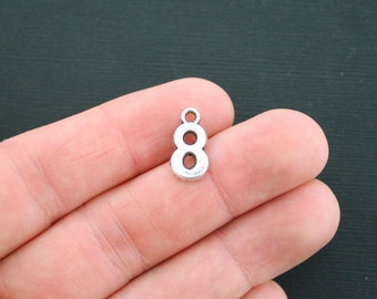 10 Number 8 Charms Antique Silver Tone Number Eight Charms - SC4430
