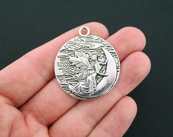 2 Fairy Charms Antique Silver Tone Large Moon Charm - SC1097