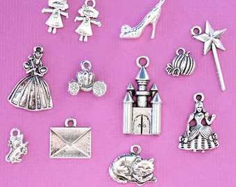 Glass Slipper Charm Collection Antique Silver Tone 12 Different Charms - COL301