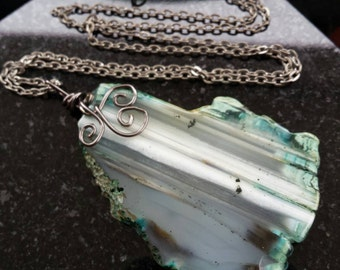 Wire Wrapped Flat Stone Necklace
