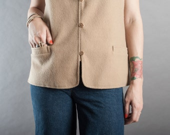 SALE 70's Camel Wool Vest w/ Pockets