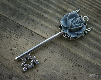 Ghost Grey Rose Key Charm Necklace