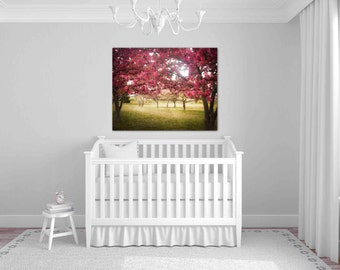 You Held Me Gently - fine art photography, apple orchard, spring landscape, apple trees blooming, magenta nursery decor, romantic wall decor
