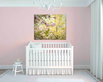 magnolia print - flower photography - pink and yellow nursery decor