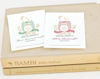 Personalized Baby Shower Bookplates, Children's Woodland Bookplate Sticker // DROWSY OWL
