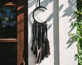Crescent Moon Dream Catcher in Black, Wall Hanging, Home decor, Modern Decor