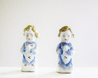 Girls Goodnight Prayers - Praying Children -1930s Novelty Salt And Pepper Shakers - Japan Pre WWII Porcelain - Vintage Figural Salt Shaker