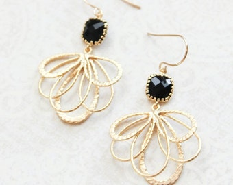 Black Glass Earrings Gold Dangle Floral Filigree Earrings Modern Boho Bridesmaids Jewelry Modern Lightweight Everyday Earrings Black Wedding