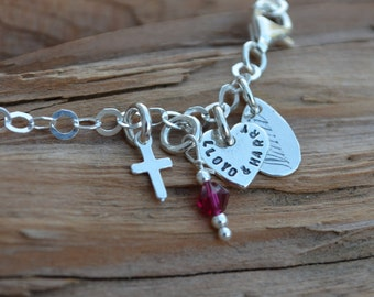 Charm Bracelet - Sterling Silver - Heart, Cross/Star of David & Birthstone - Personalized - Sweet 16, 21st Birthday, Graduation, Valentines