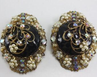 Vintage Black Gold Rhinestone Pearl Filigree Button Clip Earrings Large